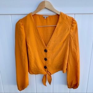 Charlotte Russe Rust Orange Buttoned Blouse
